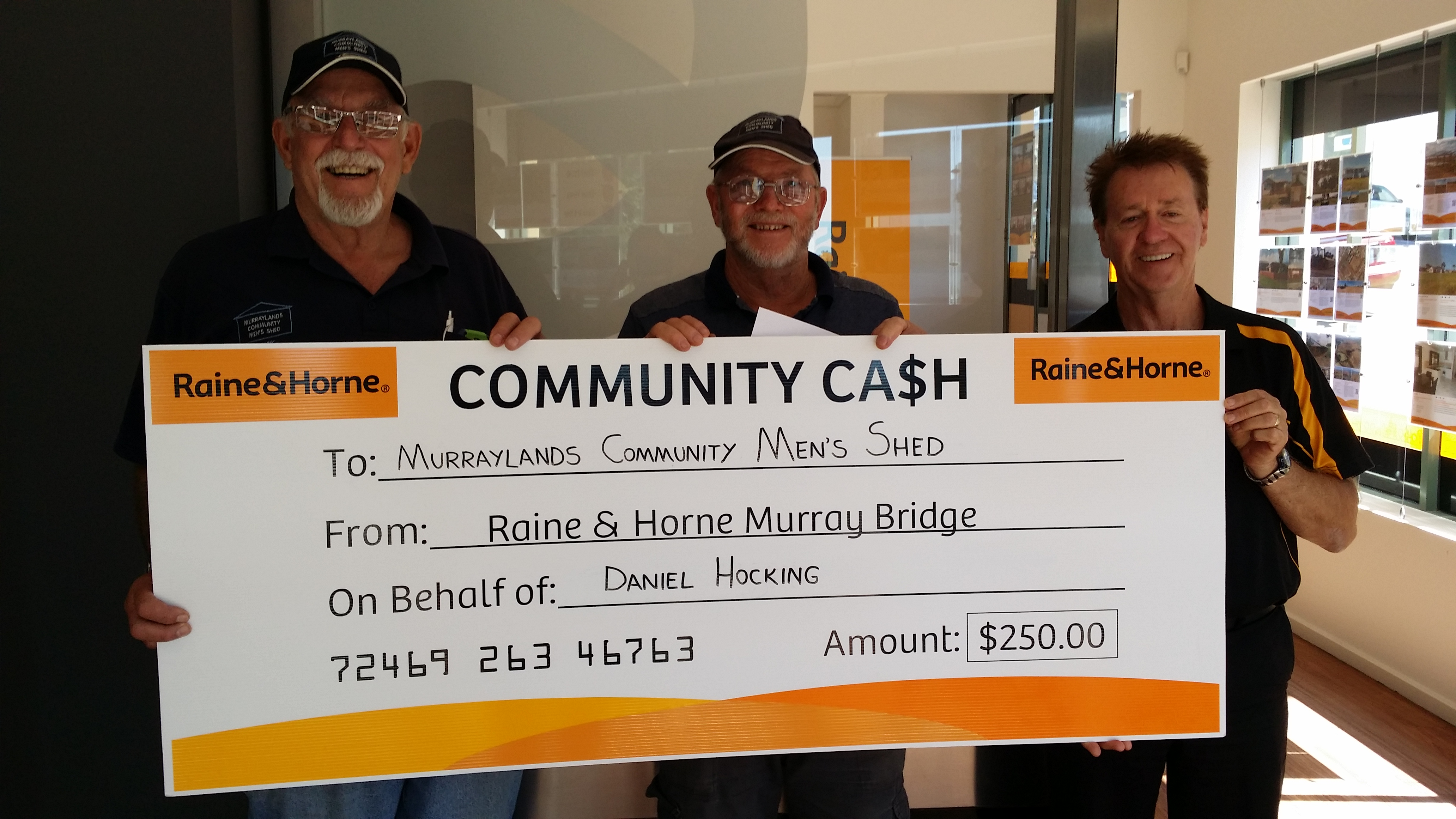 Community Cash Donation Geoff Muir Raine and Horne South Australia