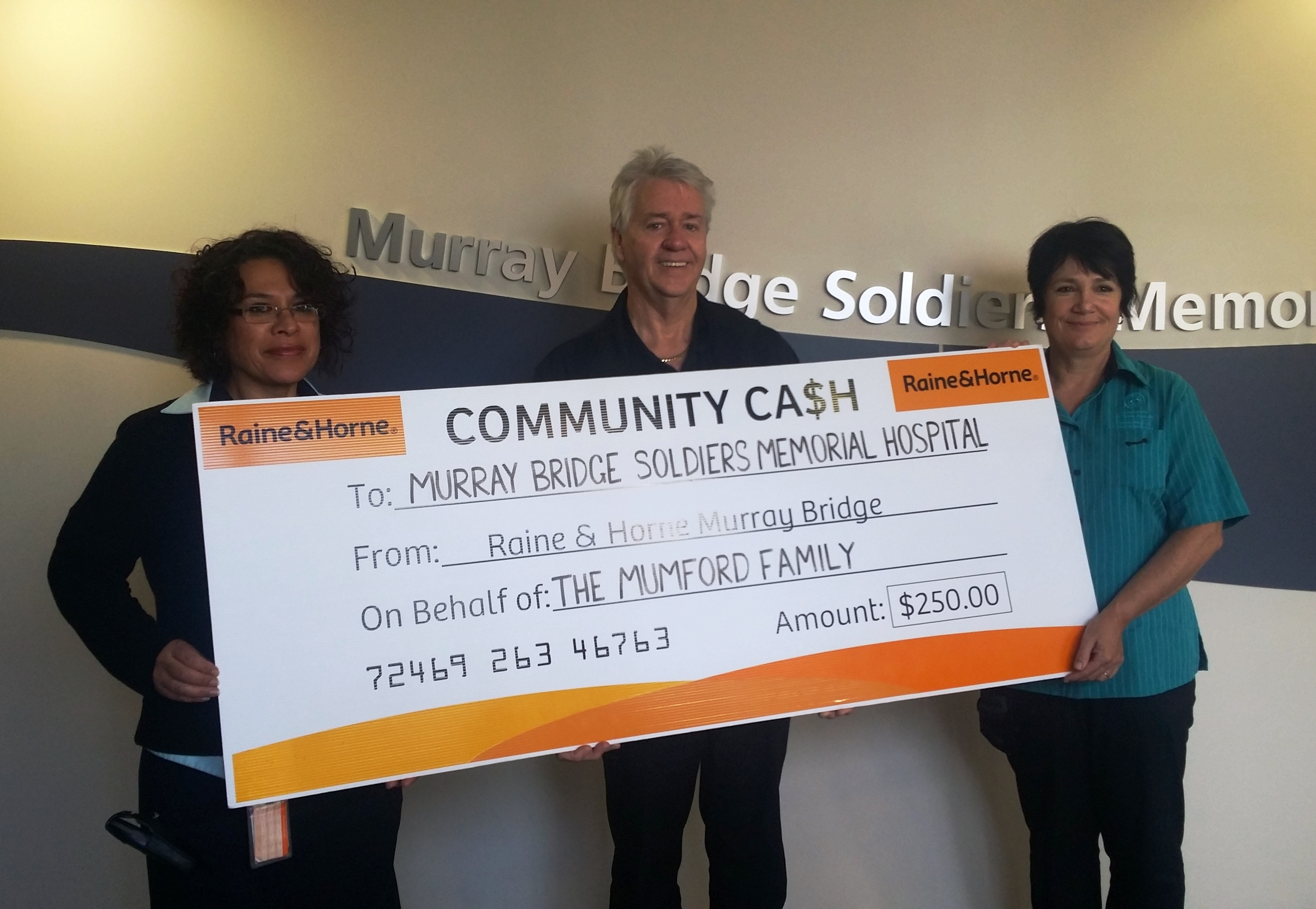 Geoff Muir Raine and Horne Donation to Murray Bridge Hospital